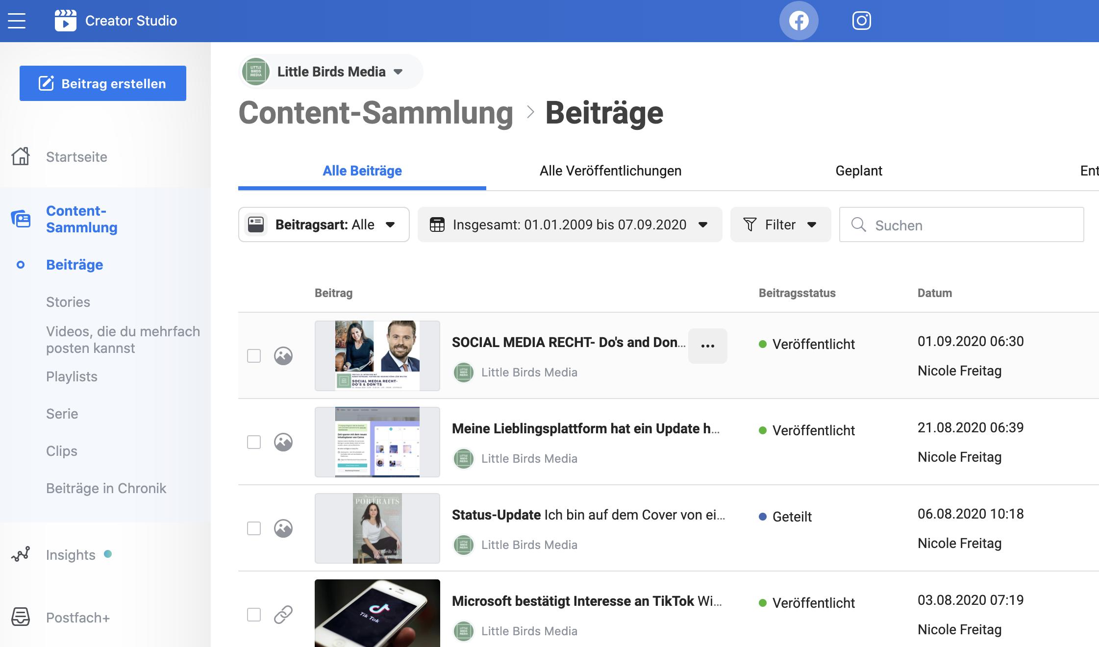 Facebook Creator Studio Facebook Content Sammlung